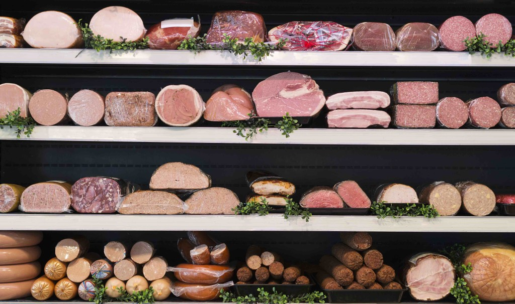 43784703 - different types of meat in a butcher shop